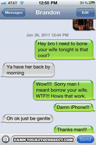 Iphone funny autocorrect bona wife