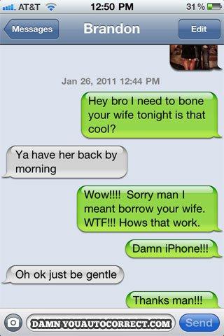 Iphone funny autocorrect bona wife