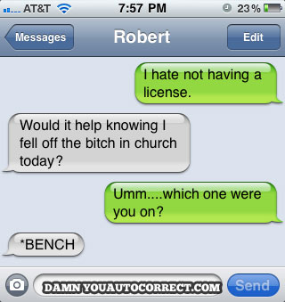 Iphone funny autocorrect church bench