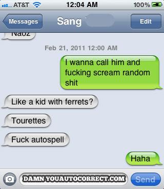 Iphone funny autocorrect kid ferrets