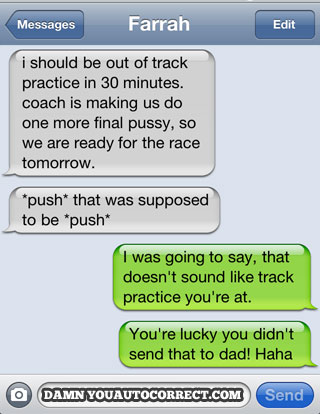 Iphone funny autocorrect track practice